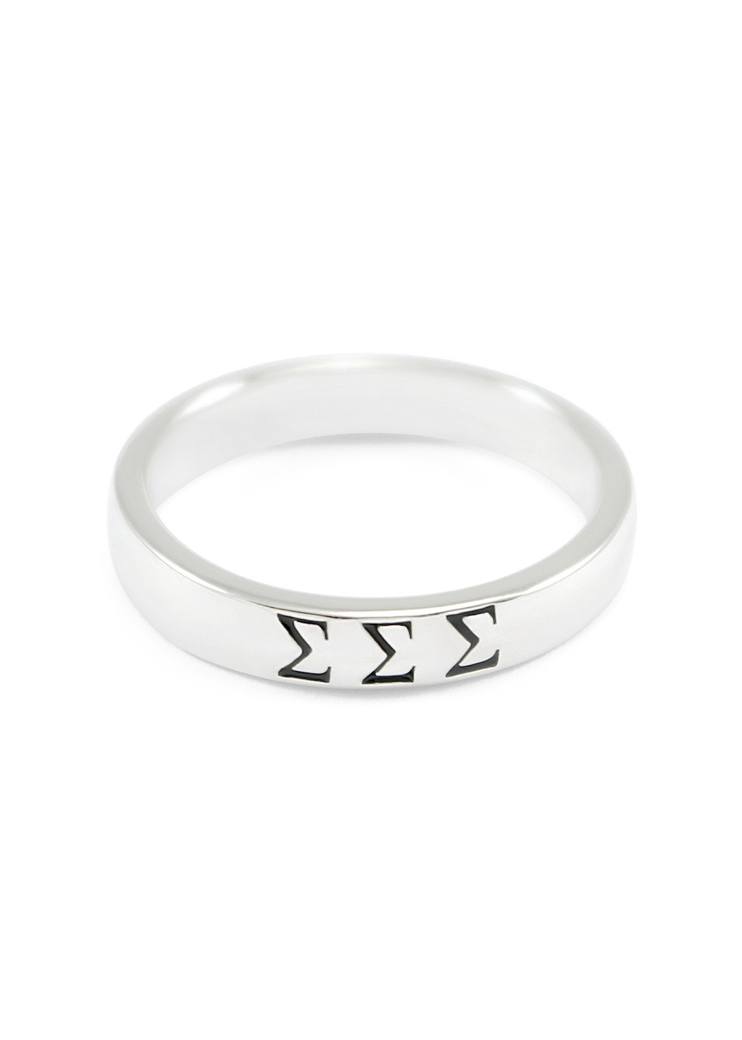 Sorority Sterling Silver Band with Stamped Greek Letters