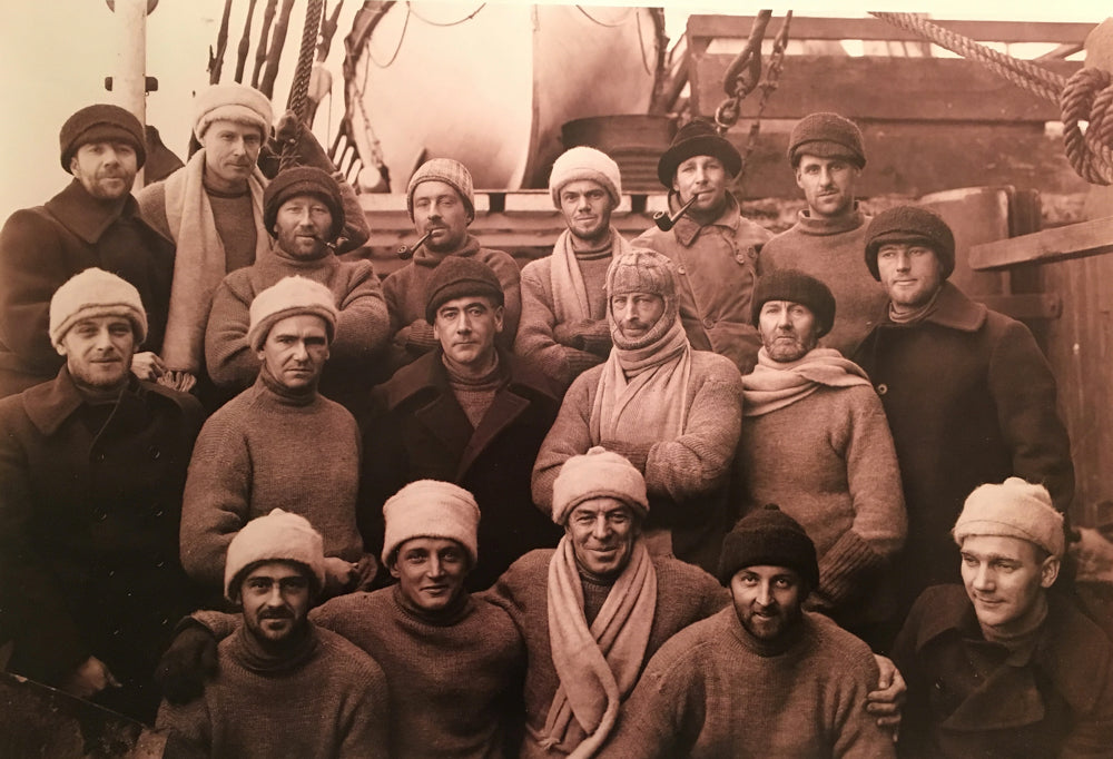 The Australian Antarctic Expedition. Mawson, in the balaclava in the middle.