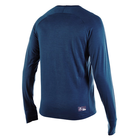 Blue PANTHER - Mens Merino Wool Baselayer Big Cat Long Sleeve Crew Neck - Blue - XS & S