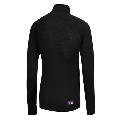 Black TIGER - Mens Merino Wool Big Cat Long Sleeve Zip Top XS & S