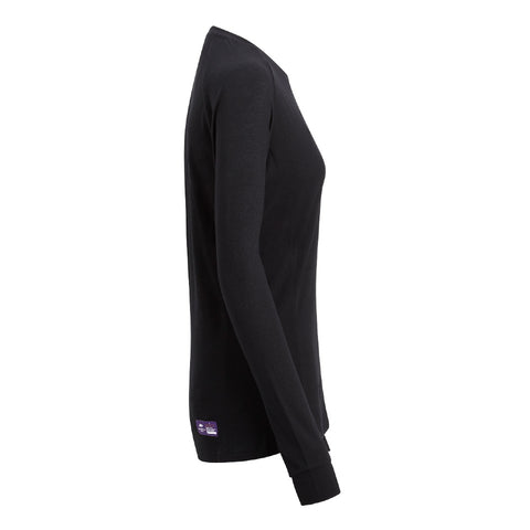 Black FLORA - Womens Merino Wool Baselayer Long Sleeve, Crew Neck