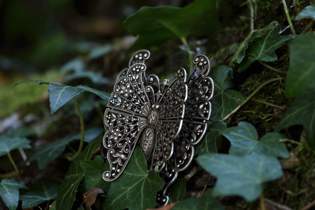Brooch, Big Double Butterfly silver brooch, Black Romantic collection, fashion Paris, premiere classe paris, fashion week Paris
