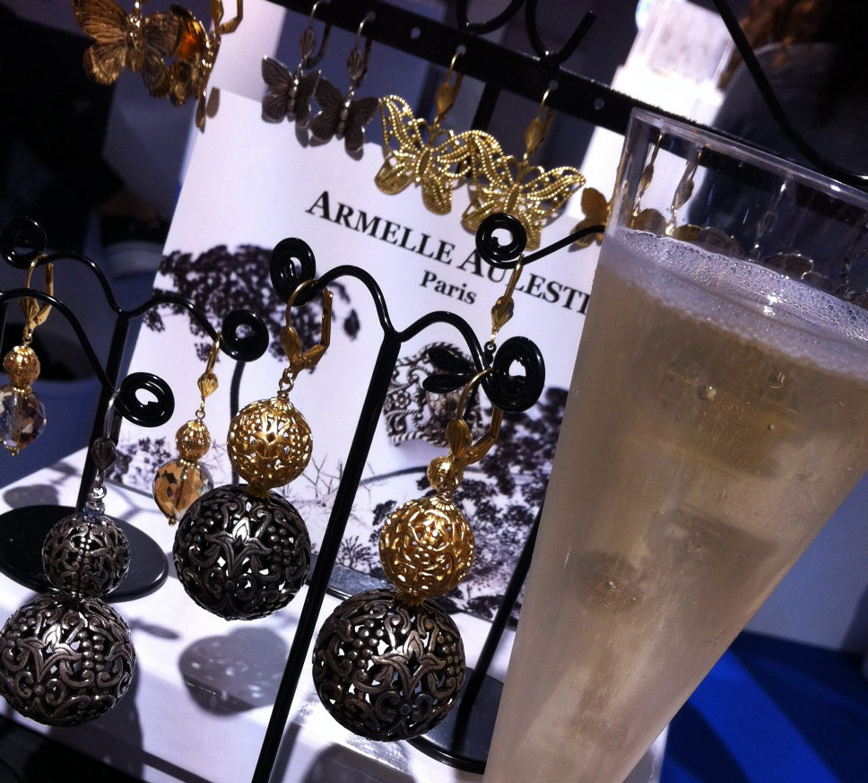 Armelle Aulestia jewellery, accessories, champagne, earrings, celebrating, Paris