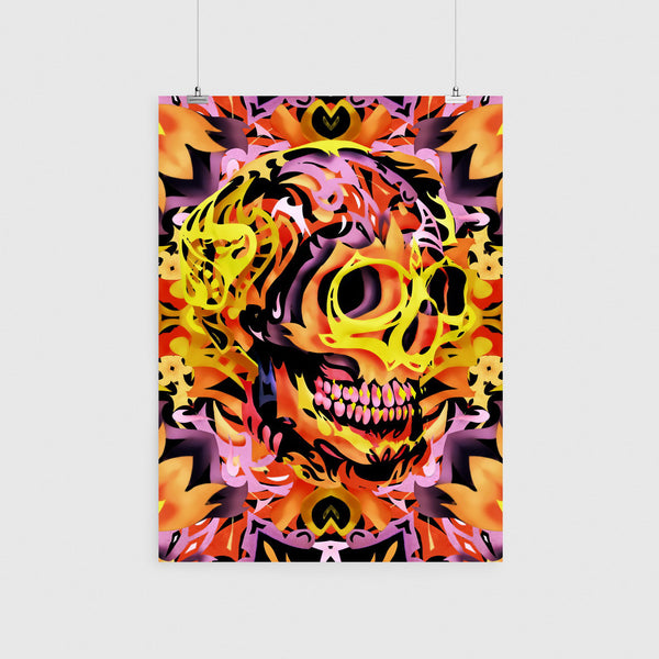 Colorful Skull Art Poster, Abstract Pattern Skull Wall Art, Skull Art Print Home Decor