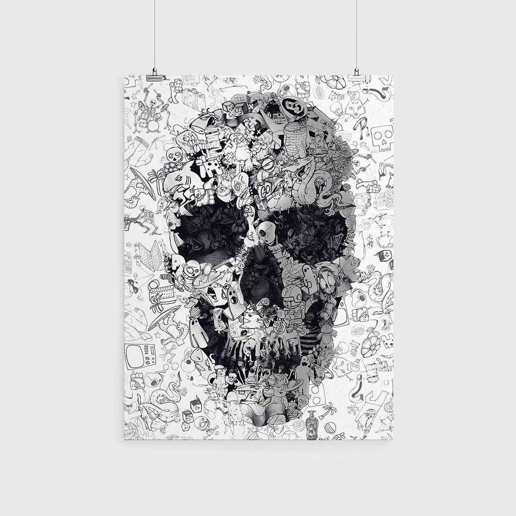 Doodle Skull Poster Black And White Sugar Wall Art Cool Drawing