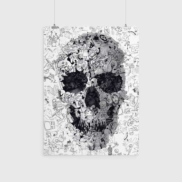 Doodle Skull Poster, Black And White Sugar Skull Wall Art, Gothic Skull Drawing Home Decor Gift