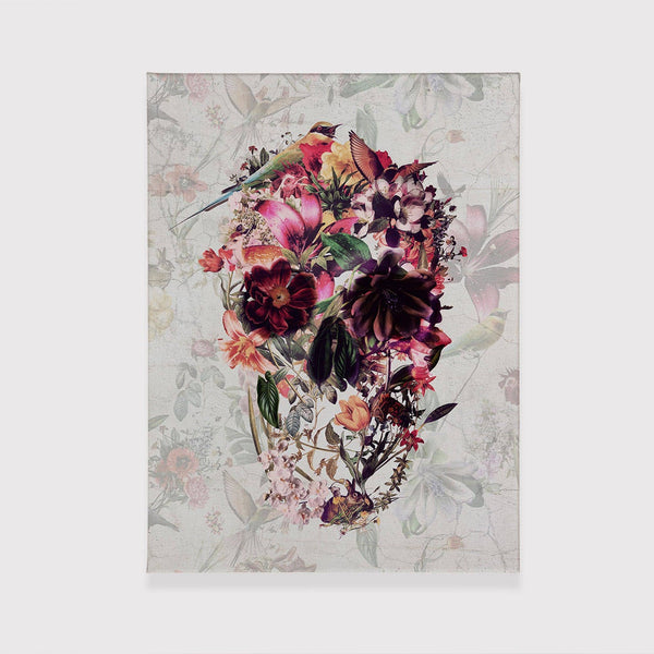 New Skull Canvas Print, Flower Skull Canvas Wall Art, Sugar Skull Gift