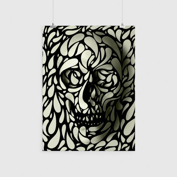 Skull Poster, Sugar Skull Home Decor, Black And White Skull Print