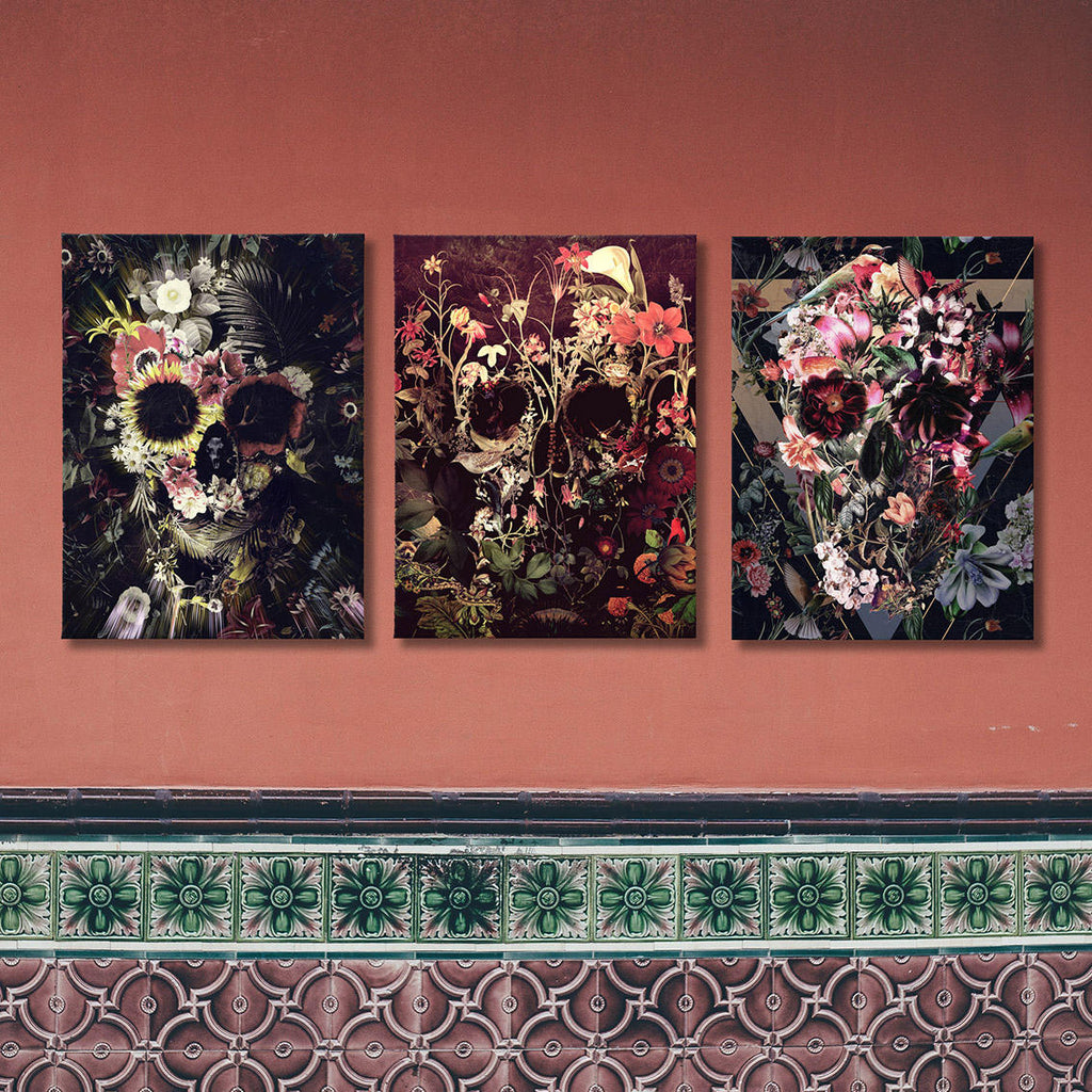 Floral Skull Set of 3 Canvas Panel, Set of Three Canvas Prints,Sugar Skull Home Decor