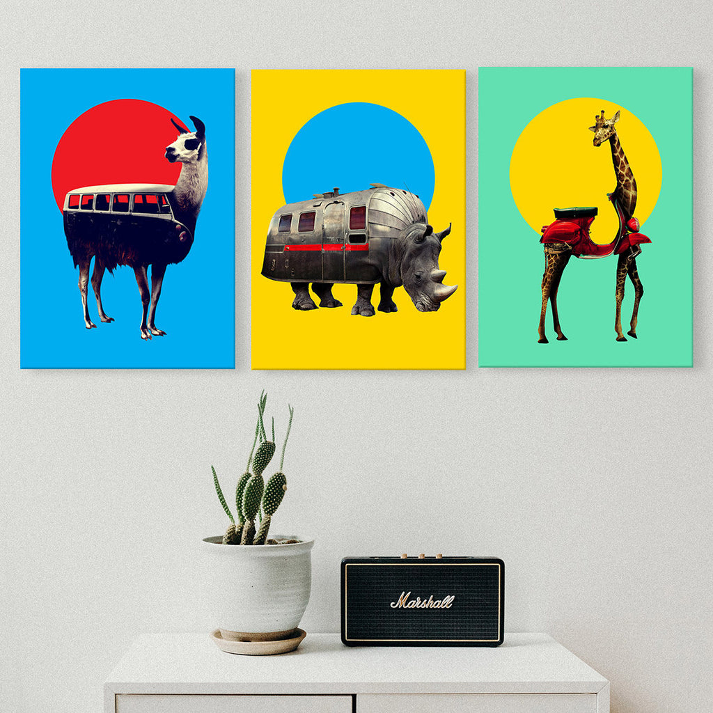 Animal Set of 3 Canvas Print, Funny Animal Canvas Art Print Set, Animal Wall Decor