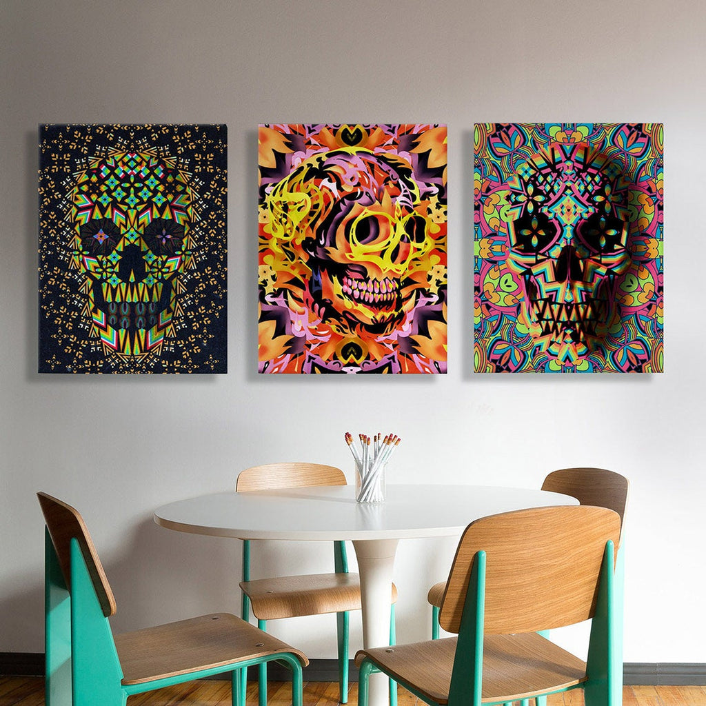 Set of 3 Skull Canvas Print, 3 Piece Skull Art Print, Colorful Sugar Skull Wall Art