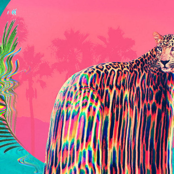 Jaguar Art Print, Colorful Animal Wall Art, Glitch Jaguar Poster