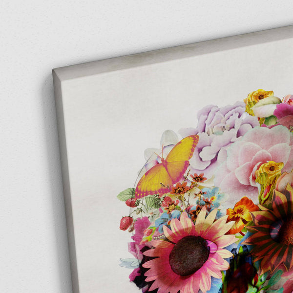 Flower Skull Canvas Print, Floral Skull Wall Art, Sugar Skull Canvas Art Home Decor