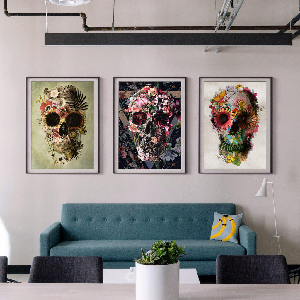 Set Of 3 Skull Art Prints, Flower Skull Home Decor Set, Floral Skull Poster Set