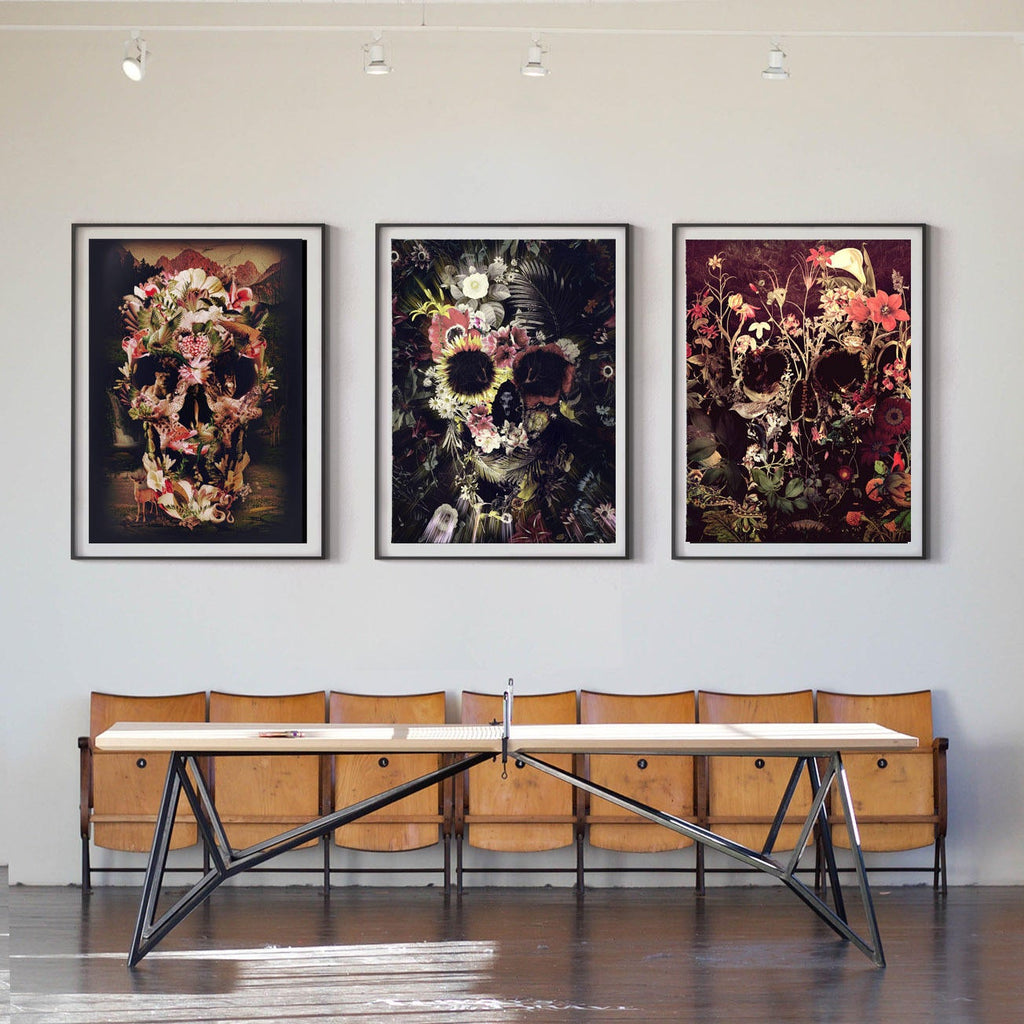 Set Of 3 Skull Prints, Nature Skull Set Home Decor, Flower Skull Poster Set