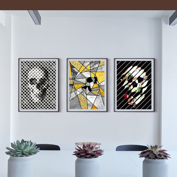 Modern Skull Poster Set Of 3, Gothic Skull Set Home Decor, Abstract Sugar Skull Art Print