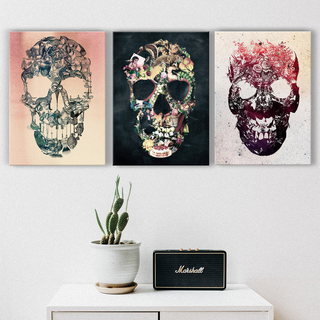 Vintage Skull Set of 3 Canvas Print, 3 Piece Skull Set, Canvas Wall Art Gift