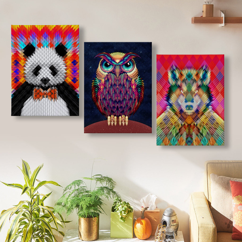 Set of 3 Geometric Pattern Animal Art Canvas Prints, Animal Illustration Printed Wall Art Set