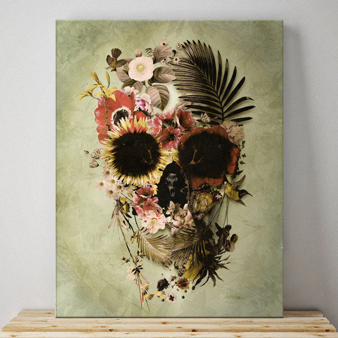 Garden Skull Canvas Print, Floral Skull Wall Art, Flower Skull Art Home Decor Gift