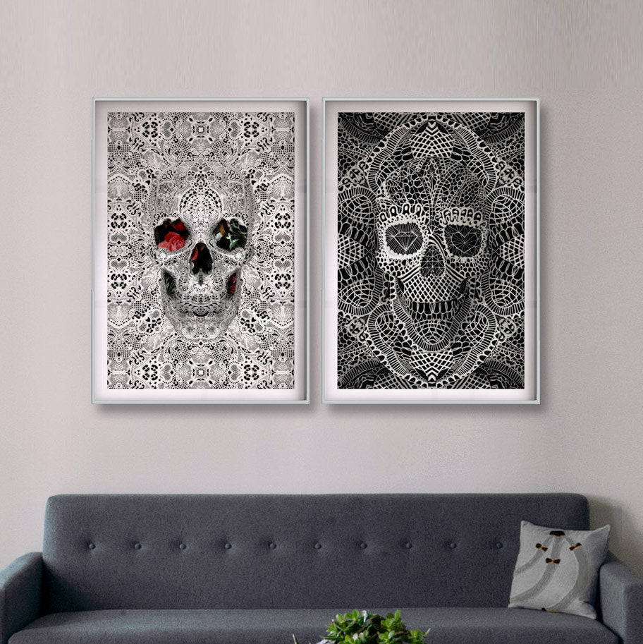 Set Of 2 Lace Skull Poster, Black And White Skull Set, Lace Art Print Home Decor