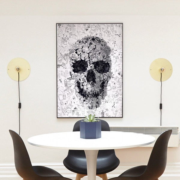 Doodle Skull Poster, Black And White Sugar Skull Wall Art, Cool Skull Drawing