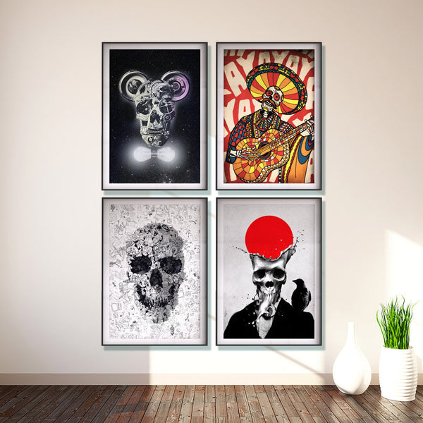 Set Of 4 Skull Print, Gothic Skull Poster Set, Sugar Skull Art Print Home Decor