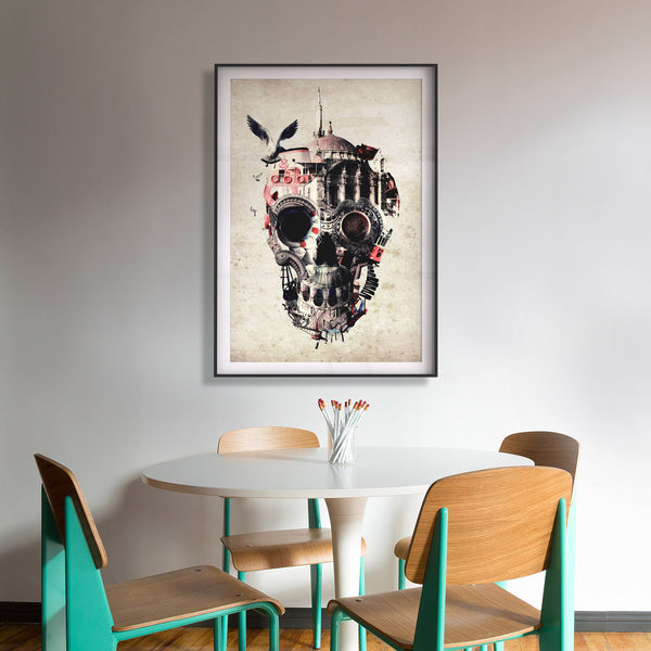 Istanbul Skull Art Print, City Skull Wall Art, Skull Illustration Home Decor