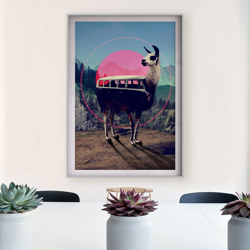 Llama Art Print, Funny Animal Wall Art, Hippie Adventure Poster