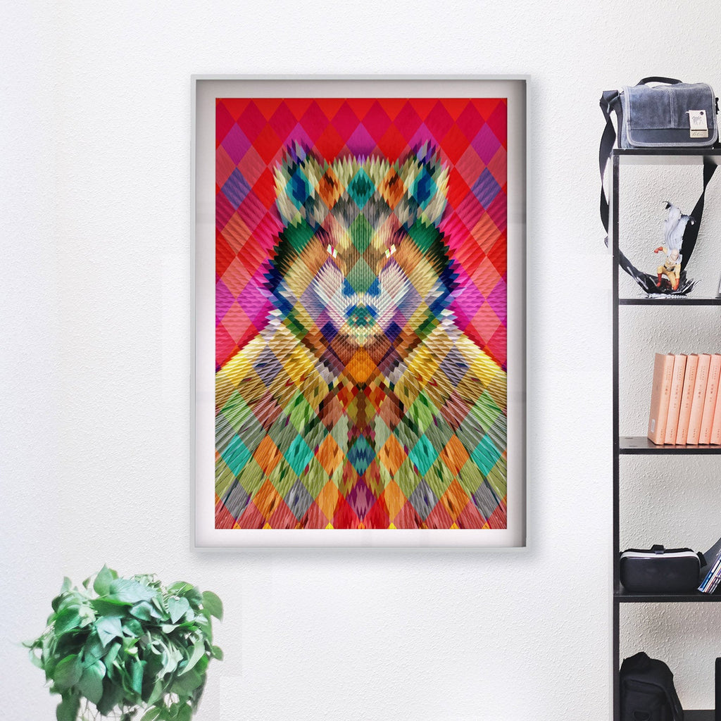 Wolf Art Print, Geometric Animal Wall Art, Abstract Pattern Poster