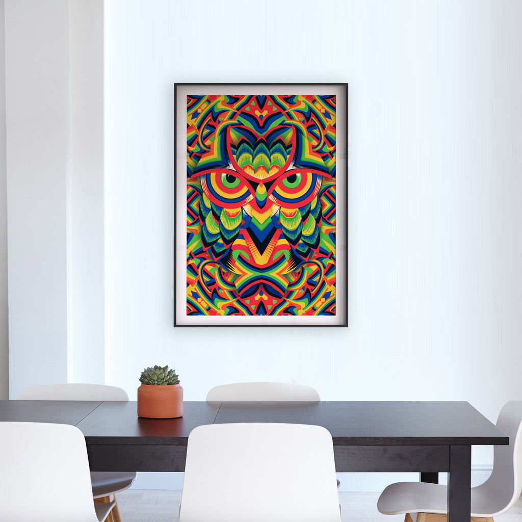 Rainbow Owl Poster, Abstract Pattern Wall Art, Funny Animal Poster