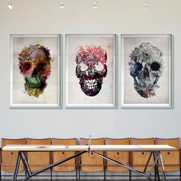 Floral Skull Art Print, Black And White Skull Poster, Flower Skull Wall Art