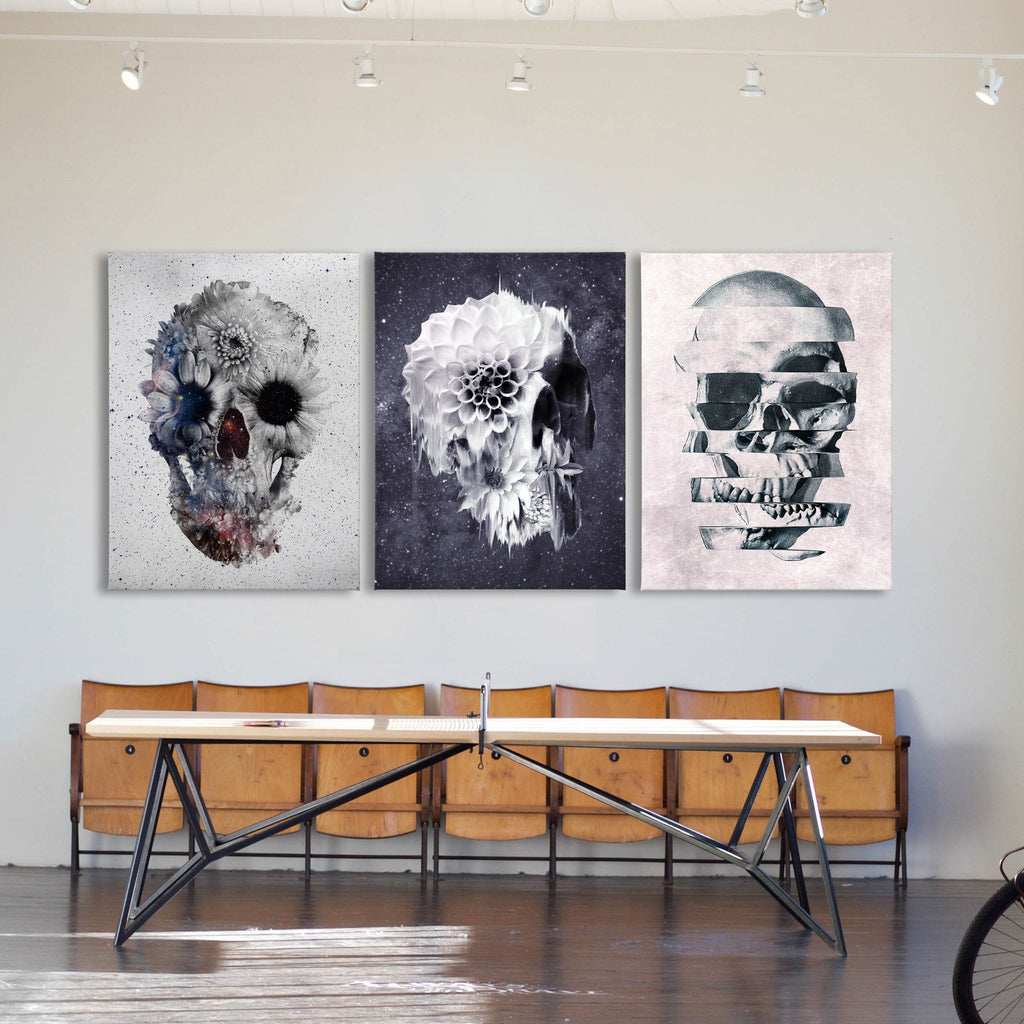 Gothic Skull Set of 3 Canvas Print Home Decor, Sugar Skull Wall Art Print Set, Flower Skull 3 Piece Canvas Art Gift