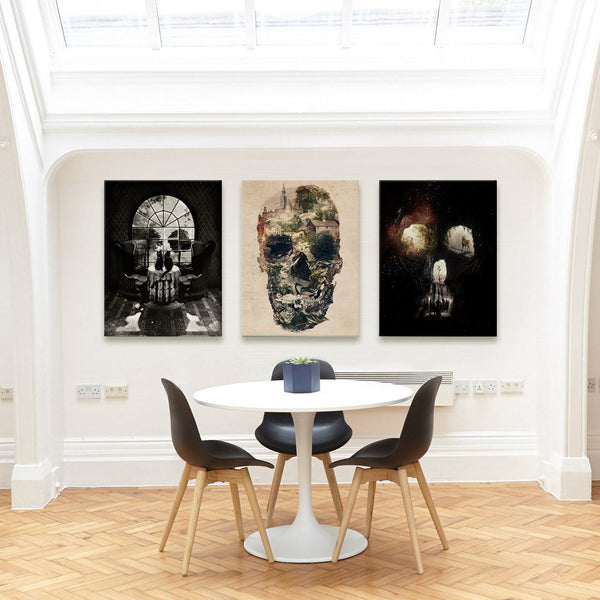 Skull Set of 3 Canvas Print, Black And White Skull Wall Art, 3 Set Canvas Art Gift