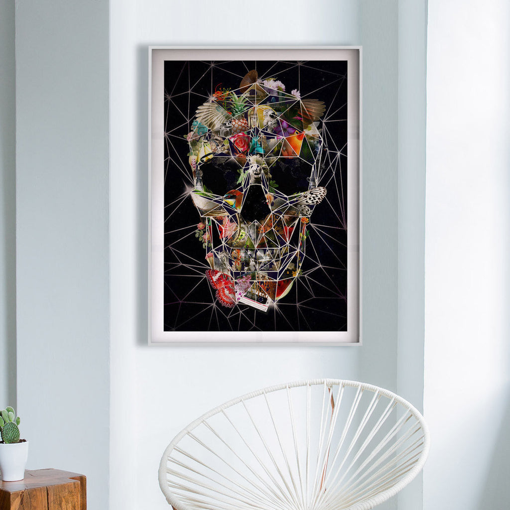 Fragile Skull Poster, Digital Skull Art Print, Sugar Skull Wall Art