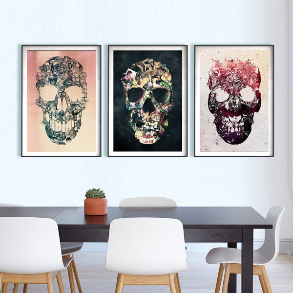 Set Of 3 Vintage Skull Prints, Skull Set Home Decor, Sugar Skull Poster Set