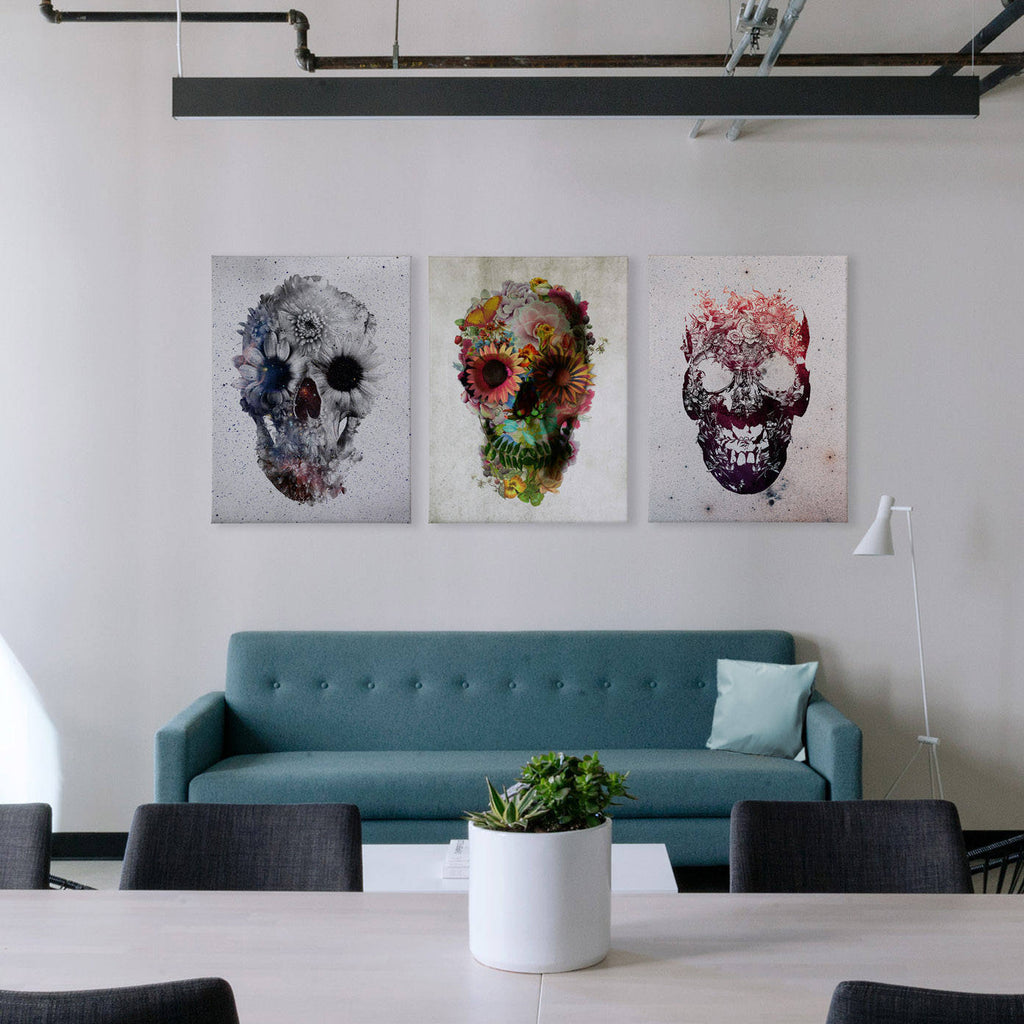 Flower Skull Set Of 3 Canvas Print, 3 Set Canvas Wall Decor, Sugar Skull Wall Art Print