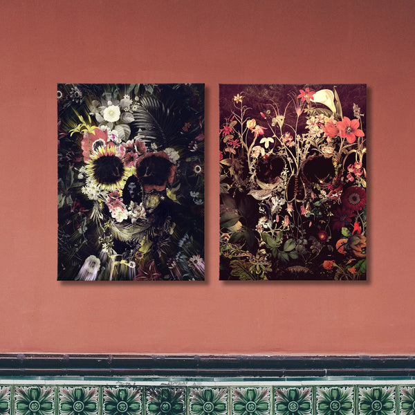 Floral Skull Set of 2 Canvas Prints, Gothic Skull Art Set, Flower Skull Canvas Art Print Home Decor