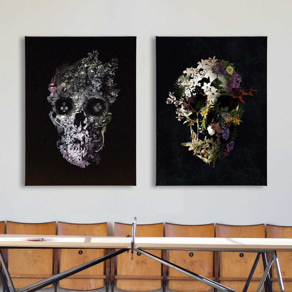 Dark Skull Set of 2 Canvas Print, Floral Skull Art Print Set, Sugar Skull Canvas Art Home Decor