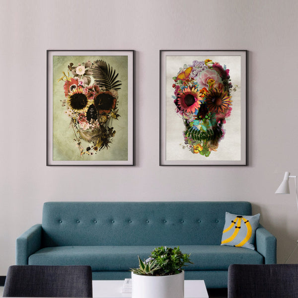 Skull Set Of 2 Print, Flower Skull Home Decor Set, Floral Skull Poster Set