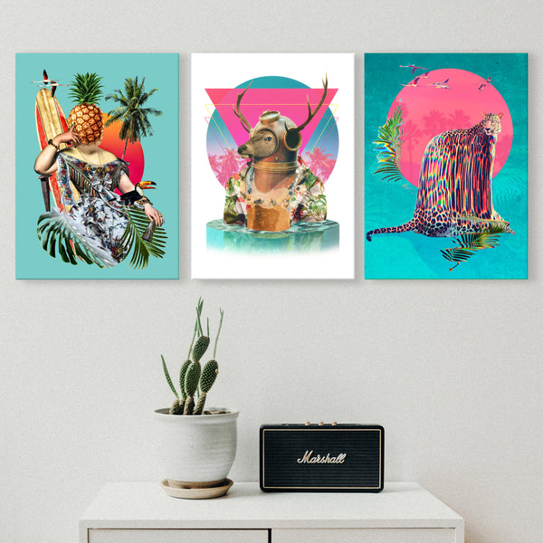 Summer Mood Set of 3 Canvas Print, Funny Animal Canvas Art Print Set, Tropical Wall Decor