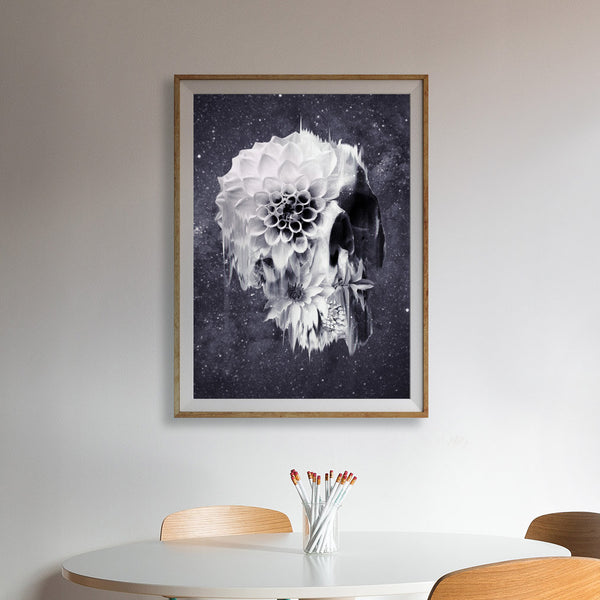 Decay Skull Poster, Sugar Skull Art Print, Flower Skull Wall Art