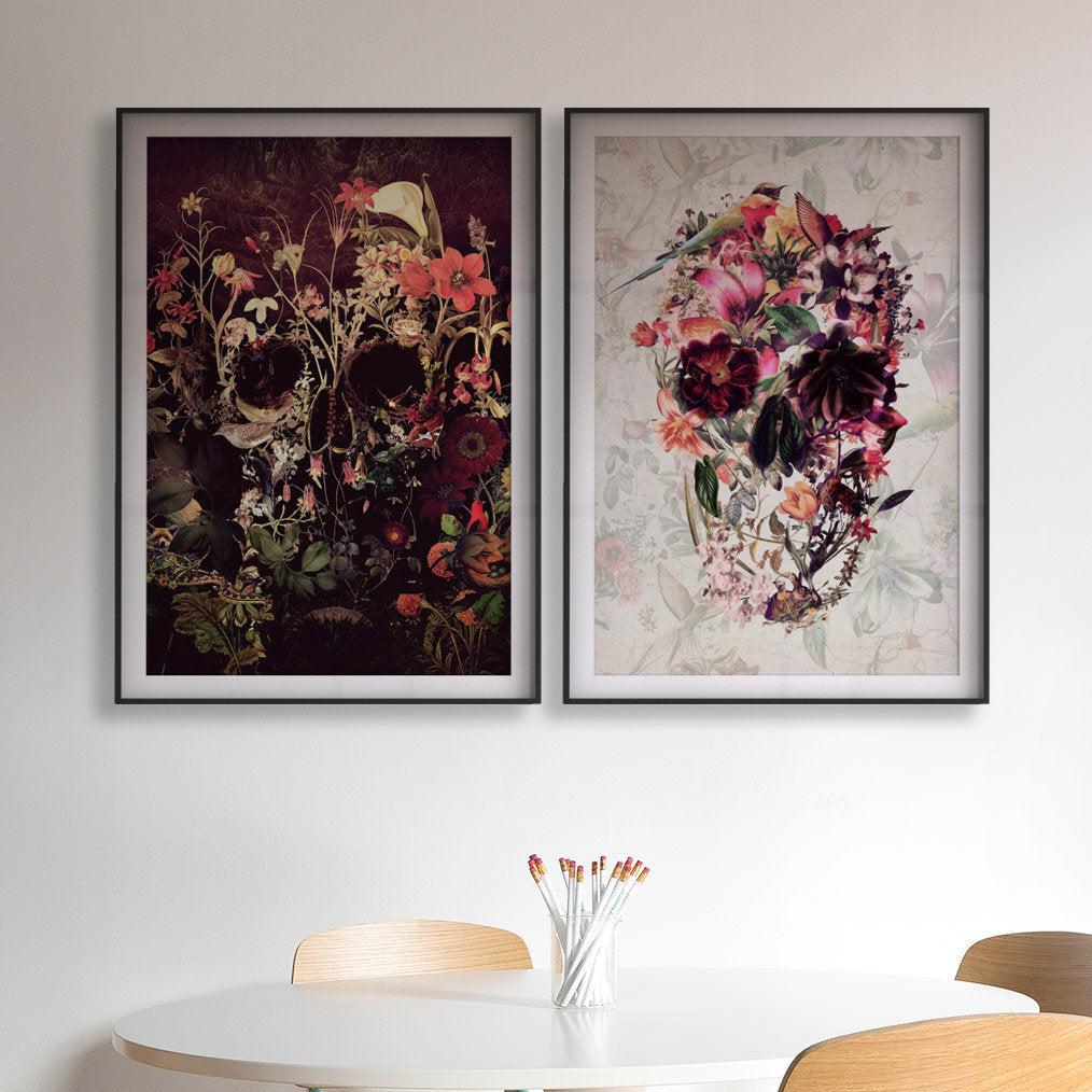 Set Of 2 Skull Art Print, Flower Skull Print Poster Set, Floral Skull Art Botanical Print Home Decor