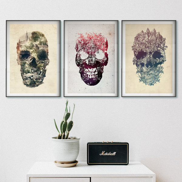 Set Of 3 Skull Prints, Vintage Skull Set Home Decor, Floral Skull Poster Set