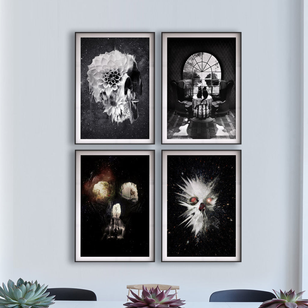 Set Of 4 Dark Skull Prints, Skull Art Set Home Decor, Sugar Skull Art Prints