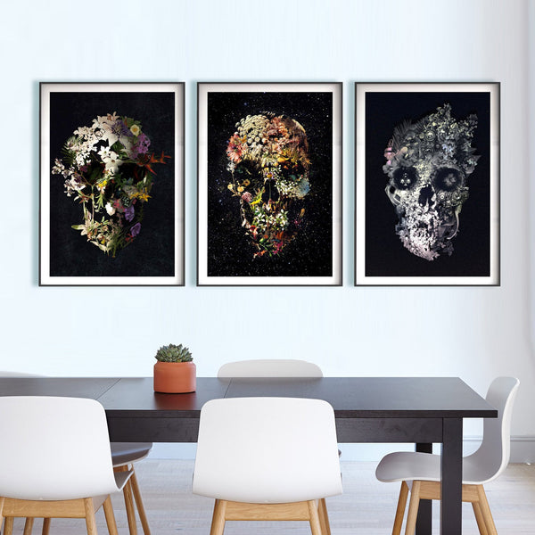Set Of 3 Floral Skull Art Print, Matching Skull Set Home Decor, Flower Skull Poster Set