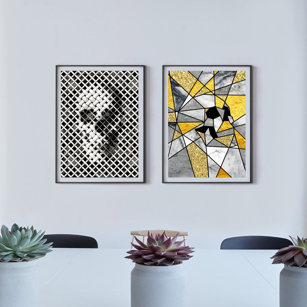 Skull Print Set, Set Of 2 Prints, Modern Skull Home Decor
