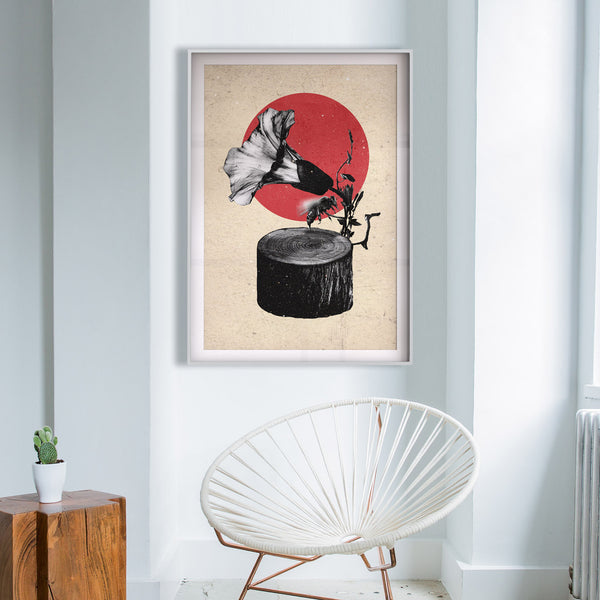 Gramophone Art Print, Abstract Nature Wall Art, Music Poster