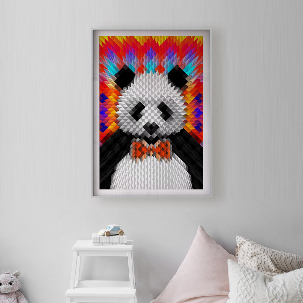 Panda Art Print, Geometric Pattern Wall Art, Funny Animal Poster