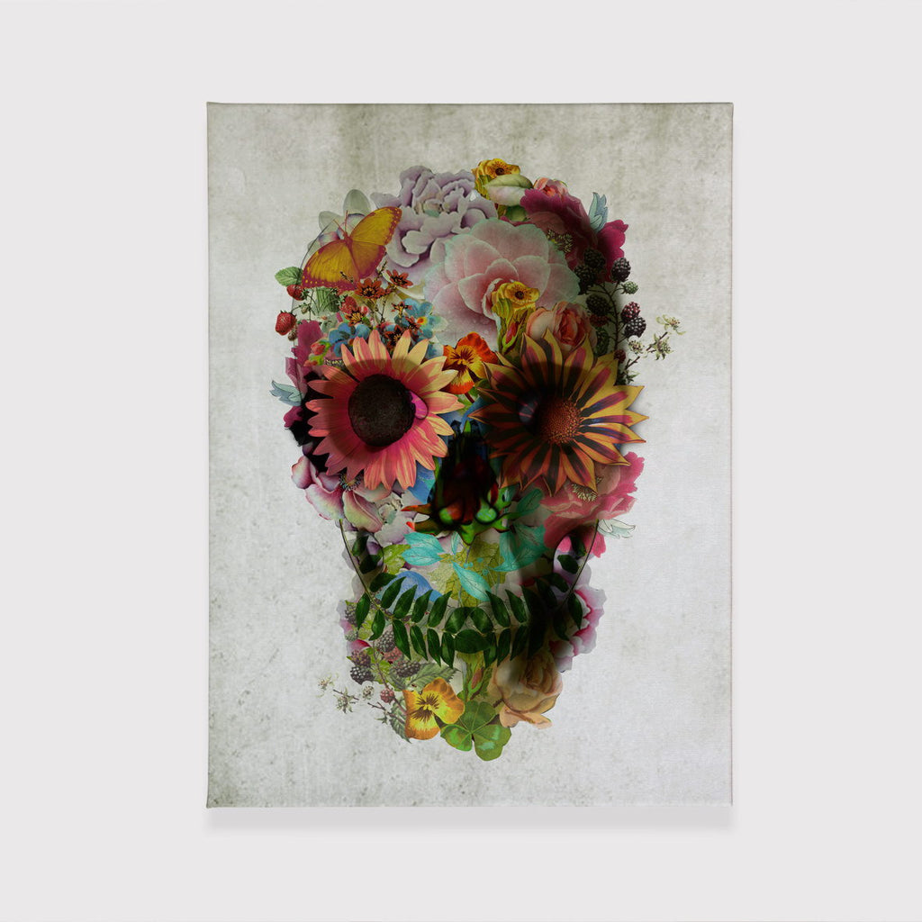 Flower Skull Canvas Print, Floral Skull Wall Art, Original Skull Canvas Home Decor