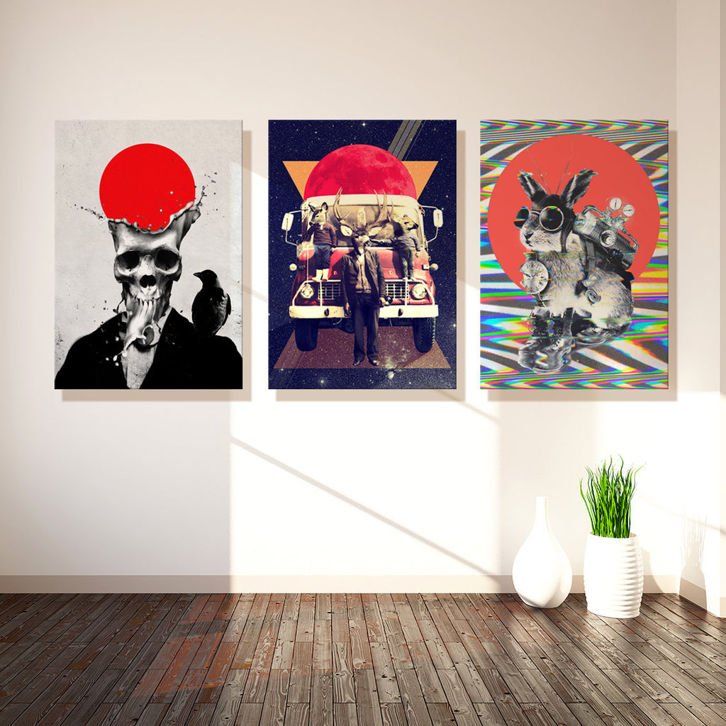 Set of 3 Canvas Print, Assorted Canvas Art Print Set, Skull Art Wall Decor